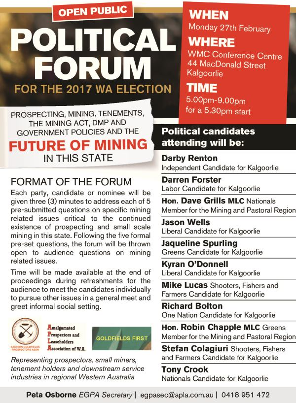 Political Forum Mining Prospecting 2017 State Election